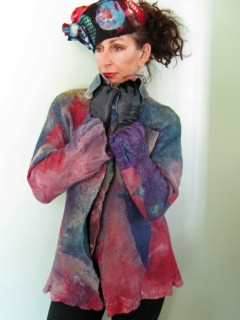 Red and Green Nuno Felted Jacket thigh high length