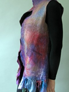 Multicolored Plums and blues Silk ruffled Nuno Felted Vest