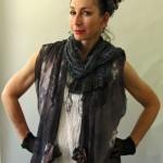 All Silk Gray Full length Tunic Shibori Dyed with nuno felt bottom panel