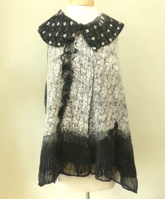 Black and White Print Nuno vest