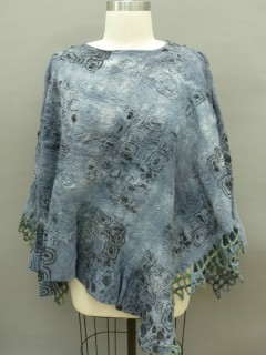 Nuno felted gray Poncho seamless reversible