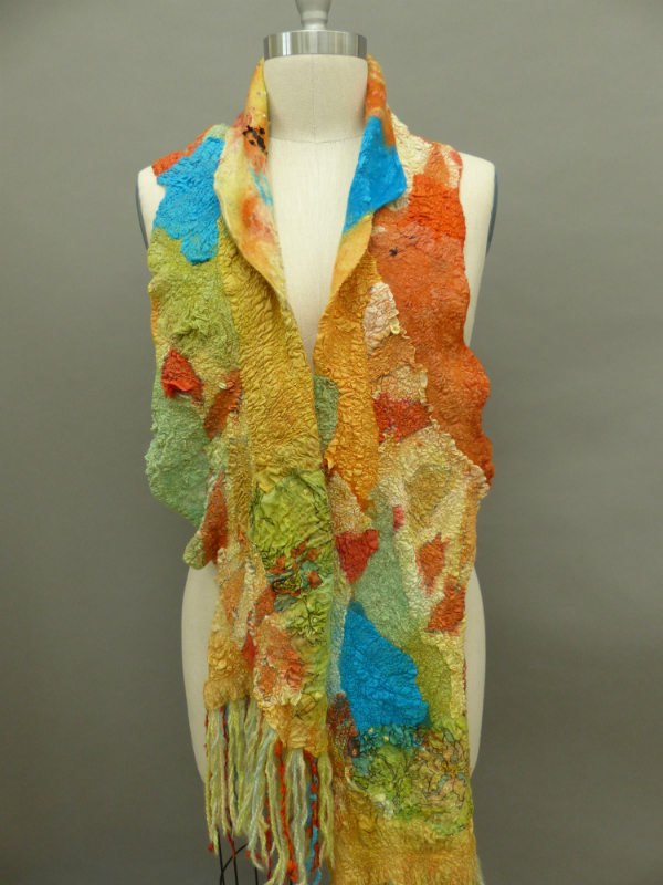 nuno felted yellow scarf wet felted scarf