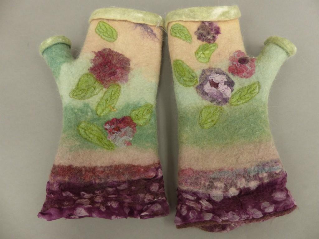 wet felted fingerless gloves angora/merino floral