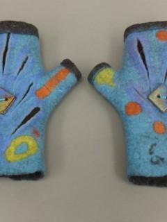 wet felted blue fingerless gloves