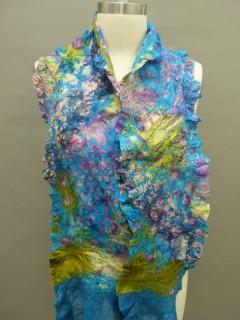 nuno felted print floral scarf