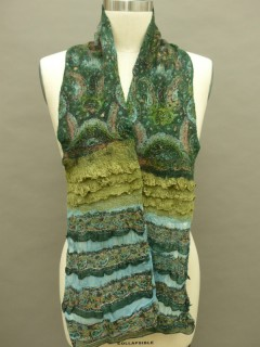 Forest green light weigh nuno felted scarf