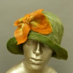 wet felted green cloche hat