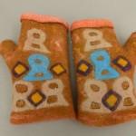 felted orange fingerless gloves