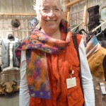 Kay wearing felted scarf