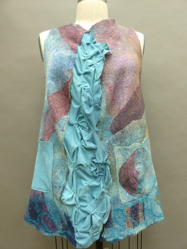 wet felted nuno lilac vest with leather trim