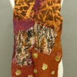 collaged nuno scarf in cranberry and golds