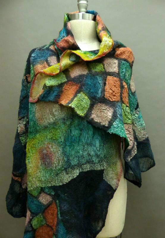 nuno felted reversible shawl